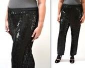 Vintage Black Sequin Pants Size Large XL// Vintage Sequin Pants Size Large XL Black