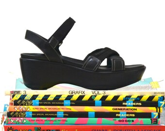 90s Vintage Platform Black Platforms Sandals Size 7 37// 90s Black Leather Sandal Wedge Heels Miu Miu Shoes size 8 38 Made in Italy