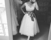 Alexandra tea length V neck Wedding Dress-made to order