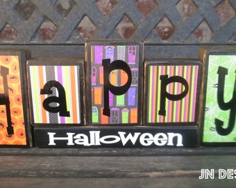 Happy Halloween wood blocks