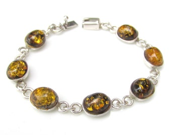 Vintage AMBER and Sterling Silver Link Bracelet - Silver Jewelry