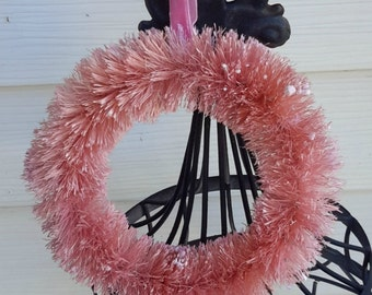 "6"" PINK bottle brush WREATH decoration shabby vintage decoration"