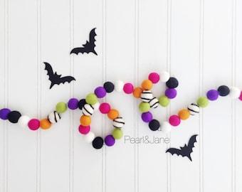 Halloween Felt Ball Garland - Orange, Black, Ivory, Fuchsia, Lime Green, Purple