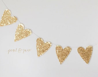 Gold, Silver, or White Sequin Glitter Heart Garland, Banner, Bunting