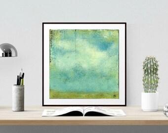 "Sky Print 12x12"" Landscape Print, Mixed Media Print, Impressionism Print, Wall Art, Aqua, Teal, Turquoise, Blue-green (305mm) ""Sky & Field"""