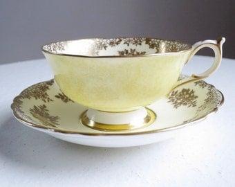 Vintage Paragon Tea Cup and Saucer, Lemon Chiffon, Yellow Teacup and Saucer, Art Deco Yellow Cup and Saucer, Wedding Bridal Gift