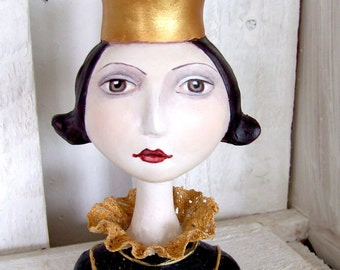 OOAK Queen's head bust
