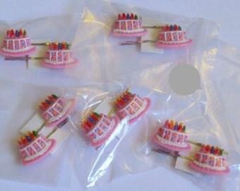 Cake Bobby Pin Set, Birthday Cake, Birthday hair accessory, bobby pins, hair pin, hair accessories