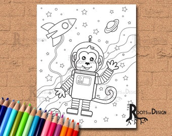 INSTANT DOWNLOAD Coloring Page -  Space Monkey, doodle art, printable