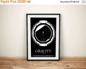 GEEKLOVE SALE Freefalling // Gravity Alternative Movie Poster // Black and White Space, Astronaut, and Stars Illustration with Earth & the M
