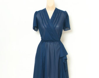 Vintage 70s Dress / Retro / 80s Dress / Retro dress / 1970s / wrap dress / blue dress / hippie boho drapy sheer secretary / Day dress  1980s