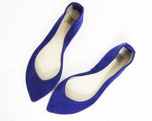 Ballet Flats Shoes Pointy Cobalt Royal Blue Leather Slip on Ballerinas