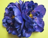 Flamenco PURPLE Two peonies flowers - Hair clip -