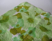 Large rectangular 60s vintage vinyl picnic tablecloth fuzzybacked abstract mottled textured green floral swirls