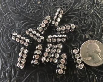 Rhinestone Tube Beads Aged Patina 20 x 7 mm lot of 4