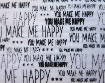 Riley Blake Fabric  - When Skies Are Grey - Skies Words White- C5606