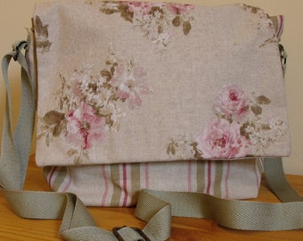 Floral Striped Print Canvas Shabby Chic Messanger Shoulder Bag with lots of pockets One of a Kind Ready to Ship
