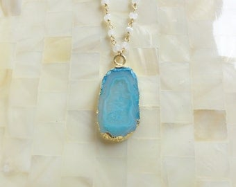 Gold Edge Blue Agate Geode Slice Pendant on Moonstone Rondelle Wire Wrapped Vermeil Chain Necklace (N1741)