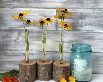 Rustic flower Vases, Set of 3, wood bud vases, test tube vases, small flower vase, rustic wedding, gift for friend,