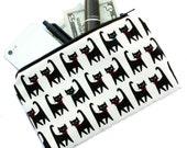 Black Cat Print Bag - Cat Makeup Bag, cosmetic bag, pencil pouch, pencil bag, zippered bag, clutch, Kawaii cat fabric, cute cat print bag