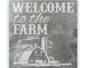 Tile - Large Slate 12in - 13809 Welcome to the Farm