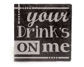 Coasters Set of 4 - black granite laser - 9953 Your Drink's on Me