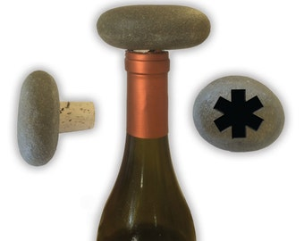 Engraved Symbol Wine Stopper on Natural Stone  - 6858 EMS