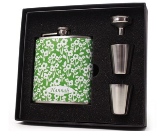 Personalized flask for women // Green floral flask gift set