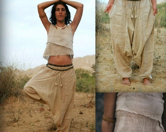 Summer Outfit >>~•》Natural cotton Afghani pants ~ Unisex + Double Top ~ Earthy Natural Cotton >>~•》(OS6)