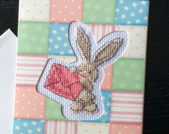 Finished Cross-stitched Card - BEBUNNI - With Love To You