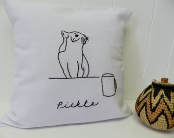 Custom Cat Pillow Cover. Cat and Coffee Mug. Personalized Pet Name.  Mother's Day Gift. Cat Lady. Cat Decor. Black and White.