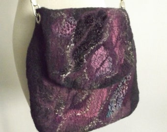 Wool nuno  felted purse, OOAK handmade Felt Nunofelt Nuno felt Silk Eco handmade shoulder bag Fiber Art, felted bag