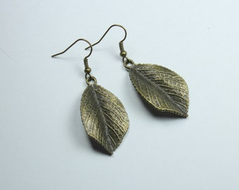 "Earrings - Bronze Plated Leaf Charms - Simplicity ""Leaves Over Me"""