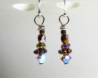Swarovski Crystal and Copper Earrings on Sterling Earwires - Sparkly, Fiery, Colorful Aurora Borealis Finish - Ready to Ship