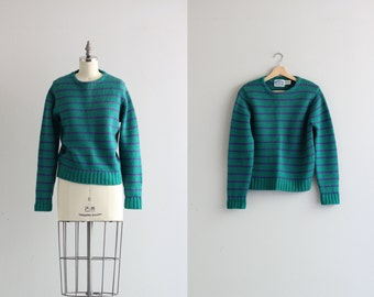 Chunky Knit Fishermans Sweater . Rugby Striped Pullover  . Wool Sweater