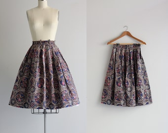 Vintage Skirt . Fifties Bird Print Skirt . 1950s 50s Skirt . Retro Cotton Skirt