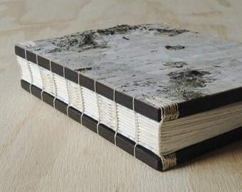 rustic wedding guest book or birch wood journal - rustic cabin memorial guest book unique wedding anniversary book lover gift made to order