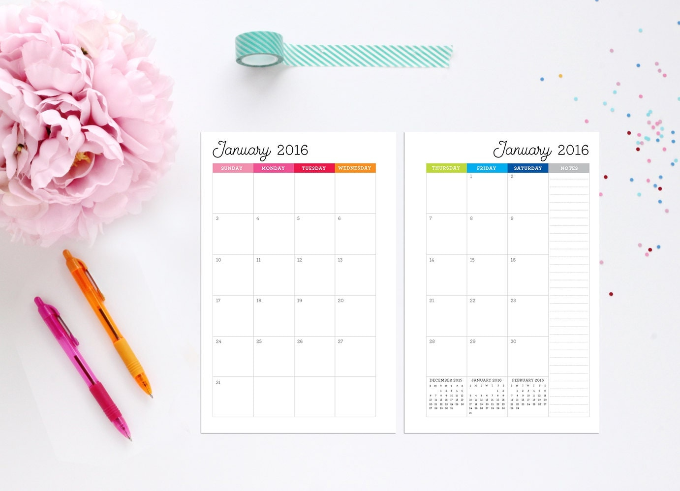 Monthly Calendar Half Page : Half page monthly calendar editable by design
