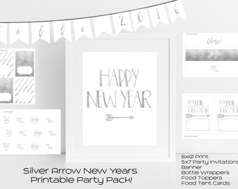 Silver Arrow New Years Printable Party Pack // Instant Download