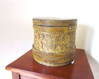 Antique Maple Sugar Bucket New England Firkin Yellow Sponge Painted Wooden Lap Banded Box Primitive 1800s