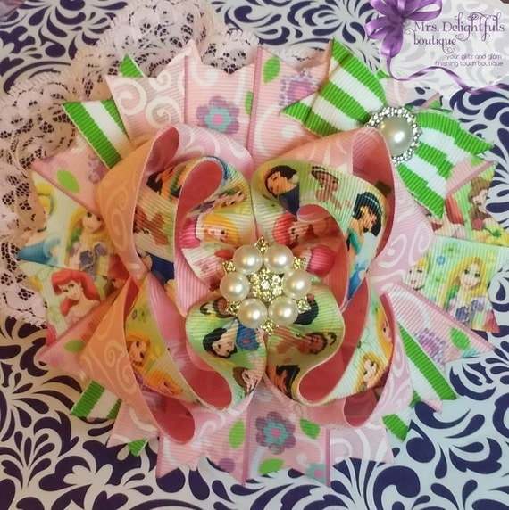 purple boutique bow, character bow,stacked bow, baby bow, hair bow, accessories, hair clip, princess bow , pink bow, green bow, layered bow