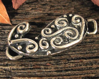Large Pretty Paisley Connector Handmade Sterling Silver Boho Bracelet Link - Hallmarked .925 - AC137