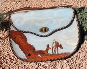 1950s Tooled Leather Handbag Hand Painted Deer Scene