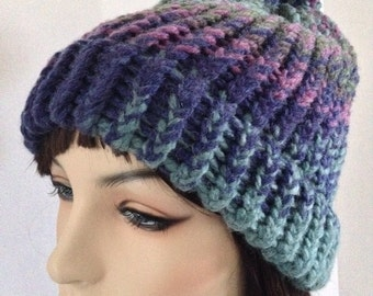 Chunky Crocheted Hat and reversible Scarf Set,gifts for Women, Christmas gifts, blue, purple, green
