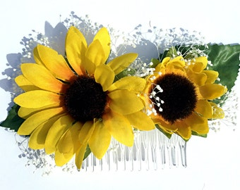 Sunflower Hair Clip, Sunflower Hair Comb, Sunflower Wedding, Daisy Hair Clip, Bridal Headpiece, Bridal Hair Clip, Yellow Flower Hair Clip