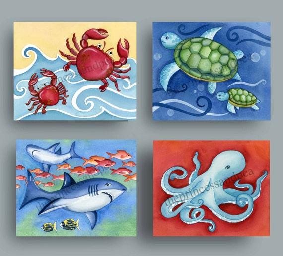 under the sea art, beach house wall art decor, boy nursery wall art, beach bathroom art pritns
