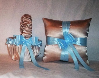 Champagne Satin With Light Baby Blue Trim Flower Girl Basket And Ring Bearer Pillow