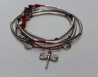 Red Leather Wrapped bracelet