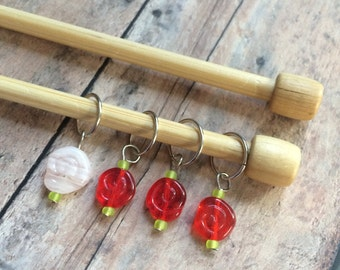 Painting the roses red knitting stitch markers - set of 4 for your knit project bag