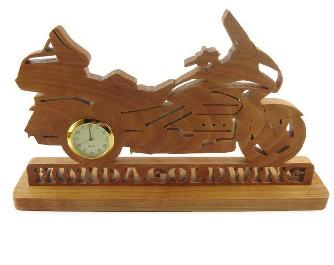 Honda Goldwing Motorcycle Desk Or Shelf Clock Handemade From Cherry Wood By KevsKrafts